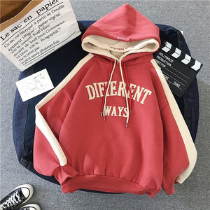 Hoodies Women Letter Hooded Trendy All-match Plus Velvet Winter Warm Students Large Size Patchwork Ulzzang Womens Harajuku Chic