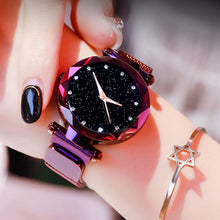 Load image into Gallery viewer, Luxury Women Watches Mesh Ladies Clock Magnet Buckle Starry Diamond Geometric Surface Casual Dress Quartz Wristwatch