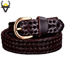 Load image into Gallery viewer, Genuine leather belt woman Braided belts for Women High quality second layer Cow skin strap female for jeans width 2.5 cm Coffee