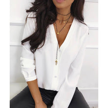 Load image into Gallery viewer, Casual v Neck Women Tops And Blouse Ladies Long Sleeve Button Office Shirts 2019 Female Solid Autumn Blusas Mujer De Moda