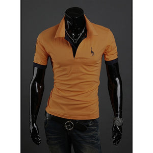 Summer Men's Polo Multi-Color Deer 85% polyester 15% Cotton Polo Shirt Men's Short Sleeve Slim Business Casual Solid Fit Tops