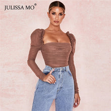 Load image into Gallery viewer, JULISSA MO Black Double Layer Mesh Sexy Bodysuit Women Tops Autumn New Long Sleeve Mid Waist Bodysuits Ladies Bodycon Overalls