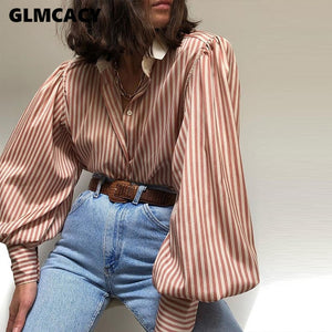 Women Striped Print Lantern Sleeve Shirt Casual Chic Street Wear Fashion Office Lady Spring Fall Loose Style Top Blouse