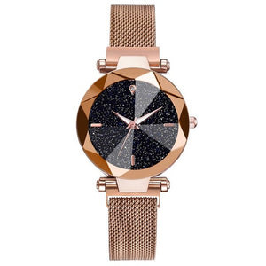 Women Starry Sky Watch Casual Mesh Magnet Buckle Ladies Clock Geometric Surface Roman Numeral Quartz Watches Relogio Feminino