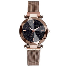 Load image into Gallery viewer, Women Starry Sky Watch Casual Mesh Magnet Buckle Ladies Clock Geometric Surface Roman Numeral Quartz Watches Relogio Feminino