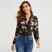 Load image into Gallery viewer, Sheinside Casual V Neck Button Up Detail Print Blouse Women 2019 Autumn Floral Print Elegant Chiffon Blouses Ladies Casual Top