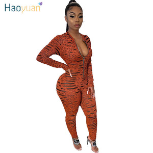 HAOYUAN Sexy Rompers Womens Jumpsuit Fall Bodys Fashion Nova Costumes One Piece Outfits Overalls Long Sleeve Bodycon Jumpsuits