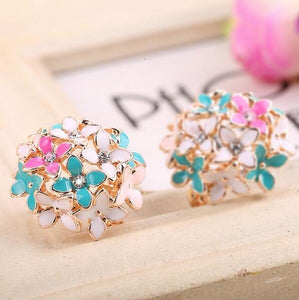 Stud Earrings for Women Female 2019 Boucle d'oreille Crystal Flower Clover Earring Gold Bijoux Jewelry Brincos Mujer