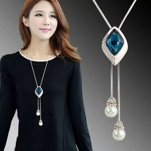 BYSPT Shiny Crystal Circle Silver Color Women's Pendant Necklaces Jewelry Pendant Long Necklace Women Chain Fashion Jewelry