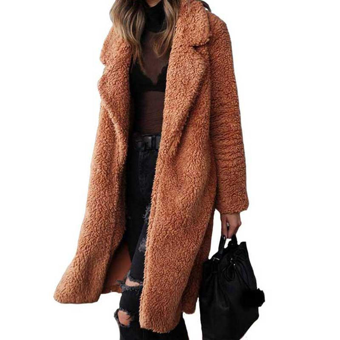 Autumn Winter Faux Fur Coat Women Warm Teddy Bear Coat Ladies Fur Jacket Female Teddy Outwear Plush Overcoat Long Coat