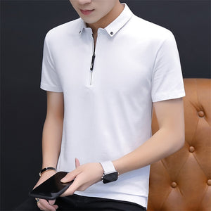 Belbello New Style Fashion youth woman Customized Shirt Men's Short Sleeves T-shirt Lapel Men's Sports Pure Color Short Sleeves