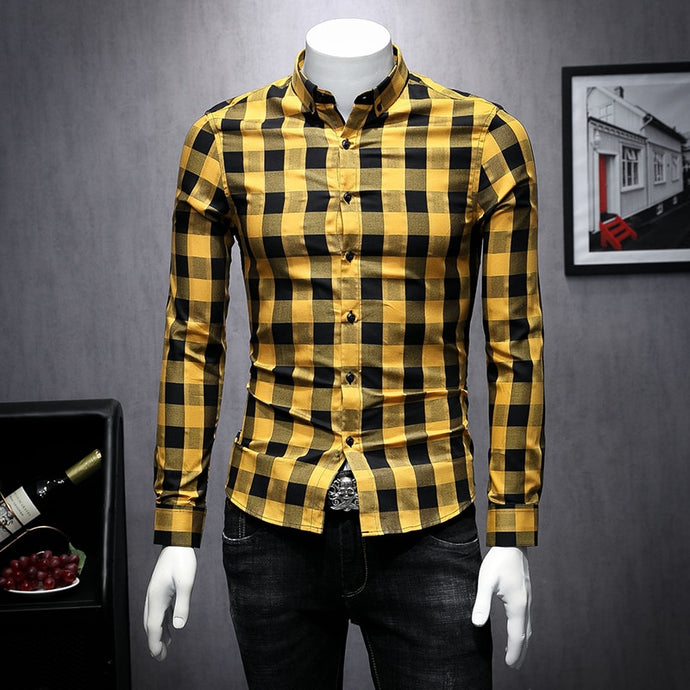 British Style 2019 AutumnNew Plaid Printing Shirt Man Long Sleeve Camisa Masculina High Quality Shirts Men Clothes Camisa Homem