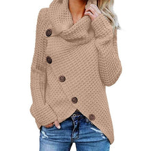 Load image into Gallery viewer, Womens Winter Autumn Long Sleeve Pullover Tops Turtleneck Oblique Buttons Waffle Knitted Irregular Hem Loose Sweatshirt