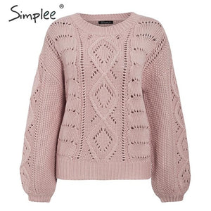 Simplee Hollow out knitted women pullover sweater Lantern sleeve female autumn winter sweater O-neck casual ladies jumper 2019