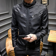 Load image into Gallery viewer, 2019 Spring MEN'S Leather Coat Korean-style Slim Fit Youth Leather Jacket plus Velvet Stand Collar Locomotive Men's PU Leather C