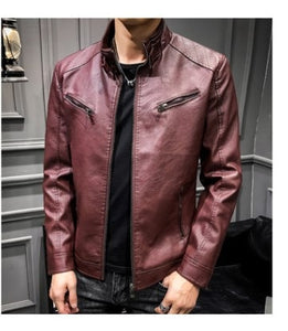 2019 Spring MEN'S Leather Coat Korean-style Slim Fit Youth Leather Jacket plus Velvet Stand Collar Locomotive Men's PU Leather C