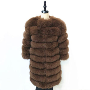 Women Warm Real Fox Fur Coat long  Winter Genuine Fur Jacket Fashion Outwear Luxury Natural Fox Fur Coat For Girls queentina