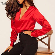 Load image into Gallery viewer, Nadafair Long Sleeve Satin Blouse Women 2019 Party Casual OL  Plus Size Office Elegant Silk Blouse Shirt Ladies Tops