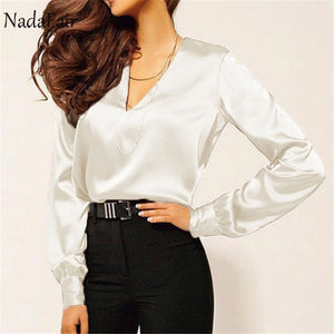 Nadafair Long Sleeve Satin Blouse Women 2019 Party Casual OL  Plus Size Office Elegant Silk Blouse Shirt Ladies Tops