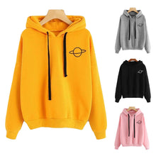 Load image into Gallery viewer, 2019 Casual Hoodie Printed Sweatshirt Women's Loose Pure Color Pullovers Tall Waist Spring/Autumn Short Style Femmes Hooded