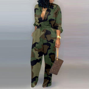 Lady Office Autumn button lace up Jumpsuit women sexy Deep V Neck Long Sleeves Overalls Elegant Leopard Camouflage Print Rompers