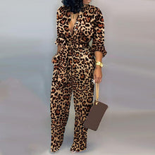 Load image into Gallery viewer, Lady Office Autumn button lace up Jumpsuit women sexy Deep V Neck Long Sleeves Overalls Elegant Leopard Camouflage Print Rompers