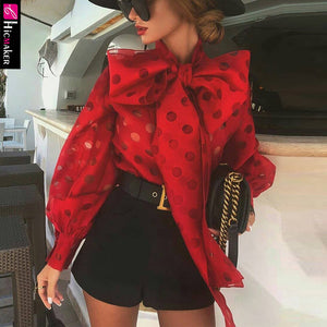 Polka Dot Lantern Sleeve Knotted Blouse Women Chic Elegant Office Lady Street Wear Spring Fall Fashion Trends Top Shirt