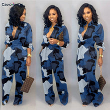 Load image into Gallery viewer, Women Camouflage Printed Plus Size Long Sleeve Bodycon Jumpsuit Casual Wrap Belt Button Down Female Overall