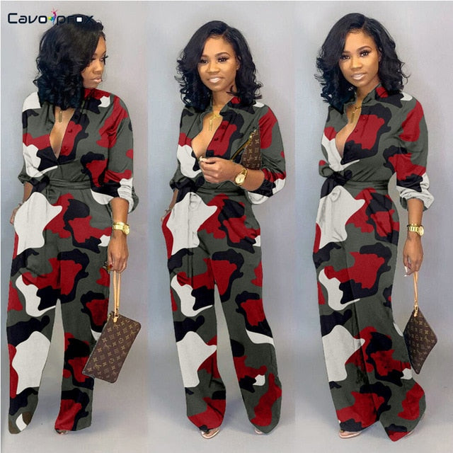 Women Camouflage Printed Plus Size Long Sleeve Bodycon Jumpsuit Casual Wrap Belt Button Down Female Overall