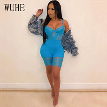 Load image into Gallery viewer, WUHE Lace Patchwork Sexy Spaghetti Strap Jumpsuits Women Off Shoulder Sleeveless Elegant Bodycon Bandage Party Short Playsuits