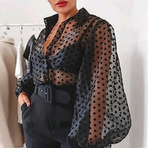 Lady Embroidery Lantern Sheer Mesh Sleeve Blouse shirts Women Autumn Polka Dot Print Blusa pullovers Elegant see through  tops