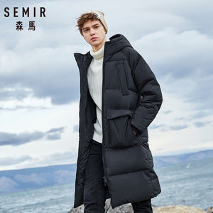 SEMIR 2019 New Clothing Down Winter Jacket Men Business Long Thick Winter Coat Men Solid Fashion Outerwear Warm Long Coat Man