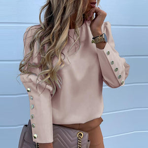 Casual O Neck Ladies Buttons Blouse 3XL Women Office Long Sleeve Back Metal Top Shirt 2019 Autumn Solid Women Tops Drop Shipping