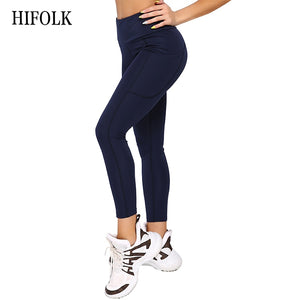 HIFOLK Fitness Women Leggings High Waist Push up Workout Leggings with Pockets Patchwork Design Leggins Polyester Elastic Pants