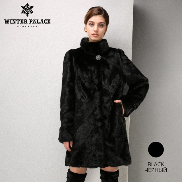2019 Fashion Women mink coat short leather mink fur coat black fur coat Slim real fur coat WINTER PALACE