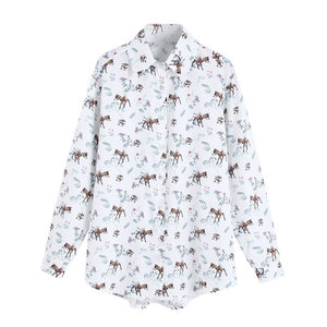 Animal Prints Shirt Women Autumn 2019 New Fashion Long Sleeve Blouse Female Loose Shirts