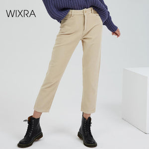 Wixra Women Corduroy Pants Ladies Casual Bottoms Female Trouser Straight Pants 2019 Autumn Winter High Waist Trousers