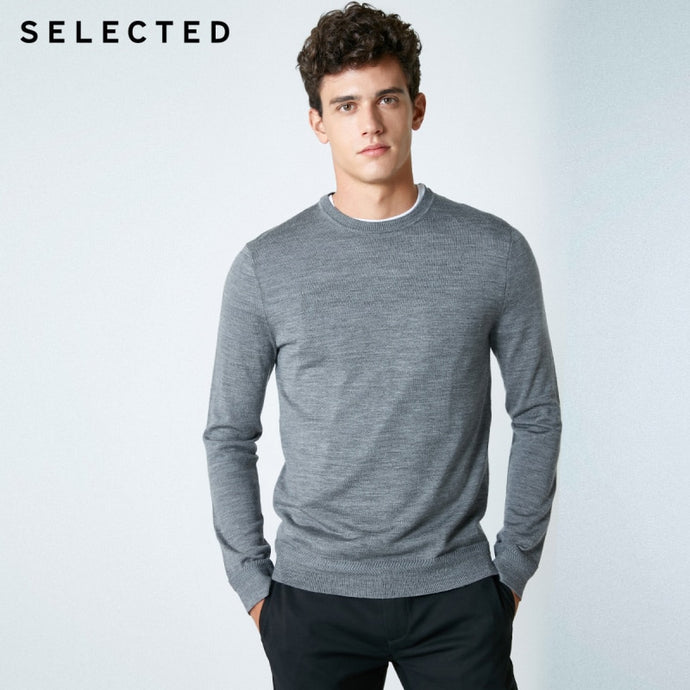 SELECTED New Italian Merino Wool Sweater Men Pure Color Male Pullovers knitwear Clothes S | 418424503