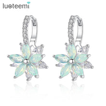 Load image into Gallery viewer, LUOTEEMI Fashion Cubic Zirconia Fancy Crystal Flower Stud Earrings for Women Girls Jewellery Valentine Day Gift Bohemia Bijoux