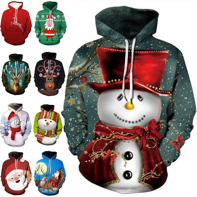 2019 Autumn and Winter Merry Christmas Hoodies & Sweatshirts Decoration Men Women Christmas Family Casual Polyester Hoodies