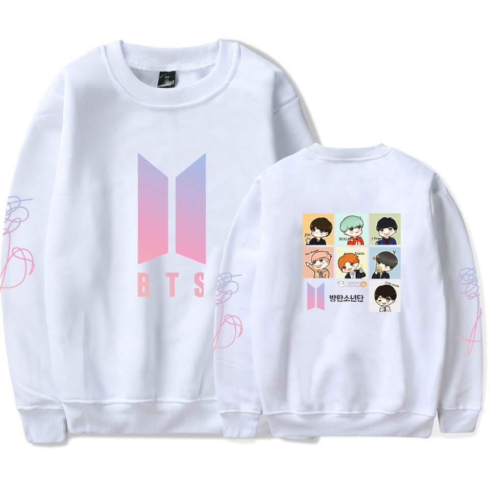 BTS Bulletproof Boys Should Aid the Clothes Celebrity Style Cute Cartoon Printing plus Velvet Loose-Fit round Neck Sweater Men A