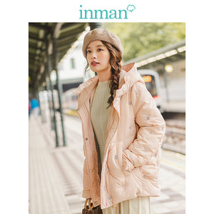 INMAN 2019 Autumn Winter New Arrival Casual Hooded Contrast Embroidery Fashion Warm Women Short Down Coat