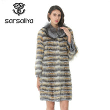 Load image into Gallery viewer, Knitted Fur Coat Women Long Stripe Coat With Collar For Ladies Real Fur Coat Fox Female Clothes Autumn Warm Luxury Overcoat 2019