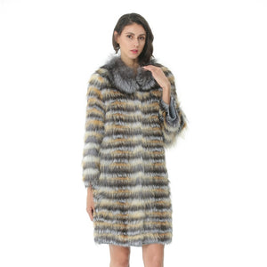 Knitted Fur Coat Women Long Stripe Coat With Collar For Ladies Real Fur Coat Fox Female Clothes Autumn Warm Luxury Overcoat 2019