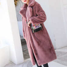 Load image into Gallery viewer, Women Thick High Quality Faux Rabbit Fur Coat Winter Luxury Long Fur Coat Loose Lapel OverCoat Plus Size Warm Female Plush Coats