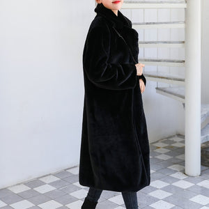 Women Thick High Quality Faux Rabbit Fur Coat Winter Luxury Long Fur Coat Loose Lapel OverCoat Plus Size Warm Female Plush Coats