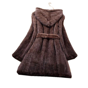 Winter Genuine Natural Knitted Mink Fur Coat Jacket Women Fur Trench Overcoat Hoody Outerwear Coats Plus Size 4XL 5XL LF9042