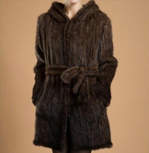 Load image into Gallery viewer, Winter Genuine Natural Knitted Mink Fur Coat Jacket Women Fur Trench Overcoat Hoody Outerwear Coats Plus Size 4XL 5XL LF9042