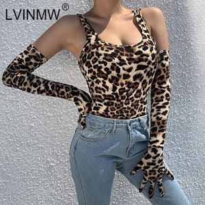 LVINMW Sexy Leopard Print Tank With Gloves Bodysuits 2019 Winter Women Off Shoulder Backless Romper Female Party Club Tops