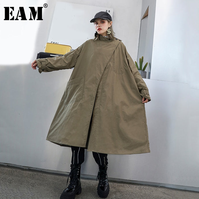 [EAM] Women Khaki Long Big Size Trench New Stand Collar Long Sleeve Loose Fit Windbreaker Fashion Autumn Winter 2019 1H3390